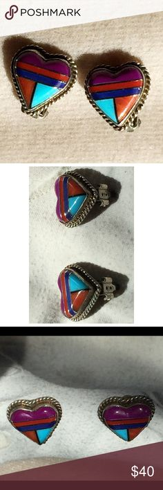 """Zuni Sterling Gemstone Inlay Heart Earrings - Colorful vintage sterling silver mosaic inlay heart earrings - These are small about 5/8"""" size gemstone inlay heart earrings with braided edge setting but big in color and style - Clips - Gemstones include Suglite, turquoise, lapis and coral -  Clips are in good working condition - These are marked sterling with (c) however it is covered up and barely legible under the clips but i also acid tested and guarantee sterling silver - Vintage Jewelry…"""