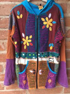 2X Hand Made Jacket Hoodie Boho Hippie Razor Cut Cotton Nepal NWT | eBay