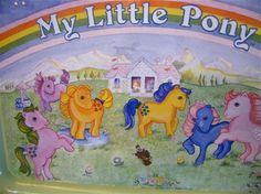 My LIttle Pony Vintage Metal TV Dinner Kids Tray 1983 Hasbro 80s
