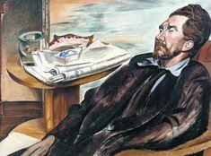 Wyndham Lewis Portraits - Exhibition Ezra Pound © The Estate of Mrs G. Wyndham Lewis: The Wyndham Lewis Memorial Trust, Photo © Tate, London 2008 Figure Painting, Painting & Drawing, Wyndham Lewis, Cubist Paintings, Tate Gallery, American Poets, Art Database, Art Uk, Michel