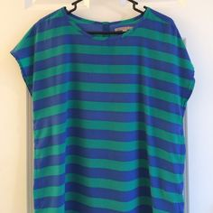 GAP striped shirt GAP blue & green striped silky top GAP Tops Blouses