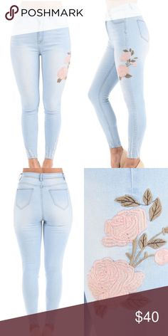 | new | HIGH RISE FLOWER DENIM WOMEN'S HIGH RISE FLOWER EMBROIDERED DENIM JEANS 97% COTTON, 3% SPANDEX.                                                          ARRIVES 7/13 ! Jeans Skinny