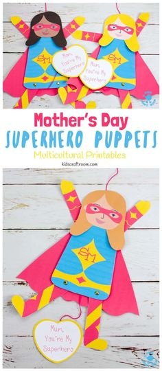 This printable Mother's Day Superhero Puppet craft is a great way to tell Mom or Mum she's super special! Pull the string at the bottom to make Supermom's arms and legs move. Such a fun Mother's Day craft and gift idea. (10 multicultural options to choose from.)