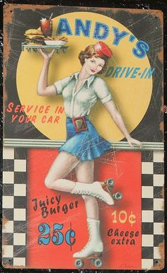 Andy's Drive-in Roller Girl Advertising Tin Art  - Tin art found decorating the wall at After 24-hour Diner in St. Louis, Missouri.