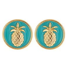 Colorful Enamel Preppy Gold PINEAPPLE Charm Stud EARRINGS - Black... ($23) ❤ liked on Polyvore