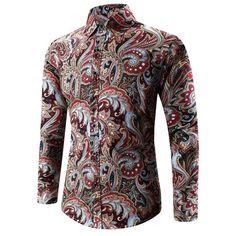 $15.49 Turn-Down Collar 3D Paisley Printed Shirt