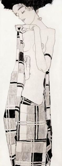 'Standing Girl in Plaid Dress' - Egon Schiele, mixed medium, 1909 gertie