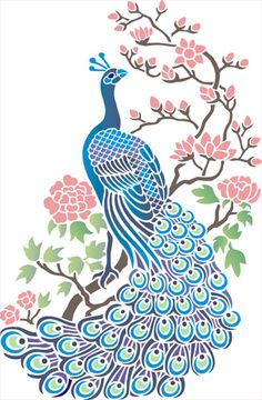 Peacock with Blossom Stencil Designs from Stencil Kingdom Peacock Drawing, Peacock Art, Peacock Design, Peacock Vector, Peacock Tattoo, Peacock Theme, Stencil Designs, Fabric Painting, Clipart
