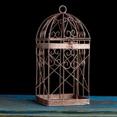 SET OF 2 Wire Metal Bird Cage, Rose Gold Candle Holder, Wedding Favors Cards Box, Pink Gold Candle Lantern Centerpiece, Rose Gold Decoration