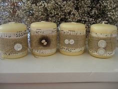 Amazingly cute candles for weddings! #shabby #chic #burlap