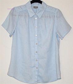 J. JILL Blouse Blue Short Sleeve Shirt Pleat Button Down 100% Linen Top Smock M  #JJill #ButtonDownShirt #Versatile
