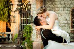 Kissing shot outside of Barclay Villa in Angier, NC