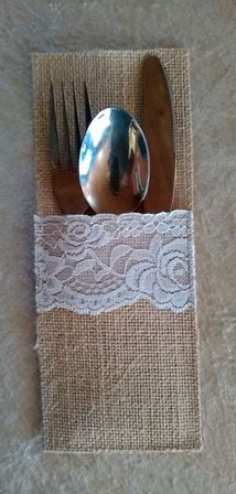 Vintage wedding decor, hessian cutlery holder
