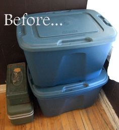 Turn these storage bins into a seating bench by using a piece of plywood and covering. This could be used to make an ottoman by sewing a simple cover. I so need to do this...
