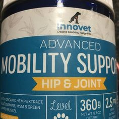 Advanced Mobility Support Chews for Dogs | Innovet Pet Green Lipped Mussel, Brewers Yeast, Dog Ages, Cellular Level, Essential Fatty Acids, Muscle Pain, Fish Oil, Happy Animals, Hemp Oil