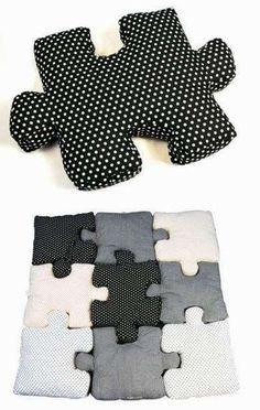 Mekkora ötlet! Puzzle formájú párnák :)