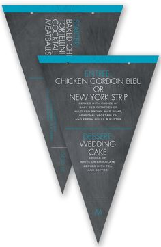 Pretty Proclamation Pennant Wedding Menu in Malibu by David's Bridal