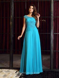 A-Line/Princess Scoop Sleeveless Chiffon Applique Floor-Length Dresses