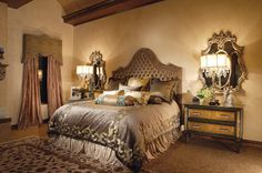 Traditional Bedroom Design with Leather Bed Furniture