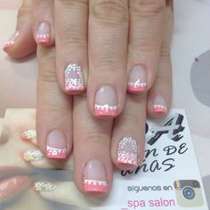 Uñas Great Nails, Love Nails, How To Do Nails, Fun Nails, Pretty Nail Art, Beautiful Nail Art, Gorgeous Nails, Pink Nail Art, Sparkly Nails