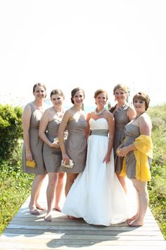 gray + yellow bridesmaids! | Charlotte Elizabeth Photography #wedding