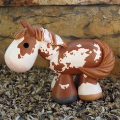 chestnut pinto / paint painted clay horse by SpottedHorseKorral Just cute!