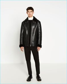 Arthur Gosse is front and center in a faux leather fleece jacket from Zara Man.
