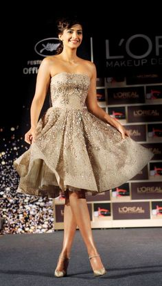Sonam Kapoor at the launch of the L'Oreal Paris' Cannes l'or lumiere collection.