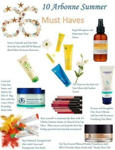 10 Arbonne Summer Must Haves. Shop online at: www.shellytistan.arbonne.com
