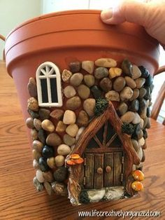Here's how to make a sweetly whimsical DIY fairy house planter from a terra cotta pot & other inexpensive items. It's really easy, so why not give it a try? # Gardening in pots Whimsical DIY Fairy House Planter - LIFE, CREATIVELY ORGANIZED Garden Crafts, Garden Projects, Diy Projects, Fairy Crafts, Tree Crafts, Diy Garden Decor, House Projects, Garden Tools, Fairy Garden Houses
