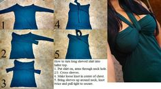 How to turn a long sleeved shirt into halter top - shirt on, arms through neck hole. - loose knot in center of chest. - sleeves up around neck, knot twice and pull tight to secure. Halter Tops, Diy Halter Top, Shirt Refashion, T Shirt Diy, Umgestaltete Shirts, Diy Vetement, Diy Fashion, Fashion Tips, Altering Clothes