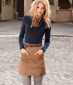 Exquisite layering--love the Navy, Camel, + Wool Grey tights.