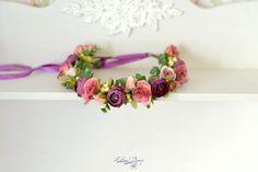 Flower crown Pink purple floral headband bridal head wreath pink roses crown woodland hair dress wedding halo flowers wedding accessory by Vualia on Etsy