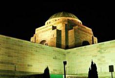 The Australian War Memorial - Night view List Of Countries, Amazing Destinations, Australia Travel, New Zealand, Places To See, Mount Rushmore, Taj Mahal, War, Memories