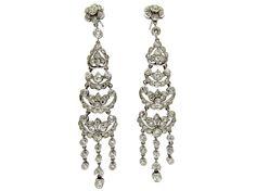 Long Edwardian Diamond Drop Earrings  Edwardian (1901 - 1914)