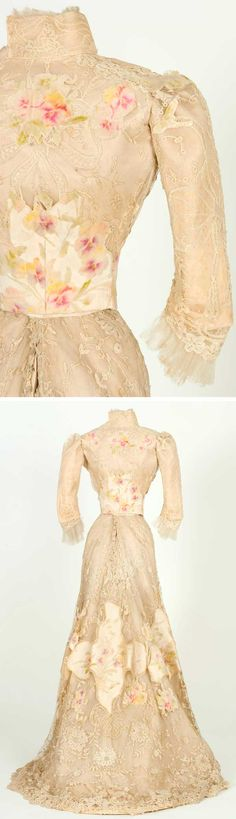 Possibly wedding gown, Jacques Doucet, ca. 1900-05. Silk taffeta, crepeline, cut velvet, mechanical and Brussels needle lace. Textile Museum & Documentation Center of Terrassa (IMATEX)