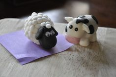 fondant cow   Fondant sheep and cow I made this morning for a nativity!