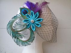 Teal & Purple Wedding Peacock Fascinator by NakedOrchidGarters