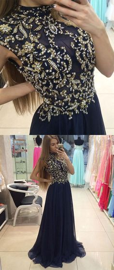 Dark blue chiffon beads chiffon long prom dress, dark blue chiffon long formal dress for teens