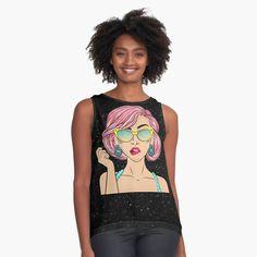 'pop art girl' Sleeveless Top by remuseeel Pop Art Girl, Contrast, My Arts, Art Prints, Tank Tops, Printed, Awesome, People, Design
