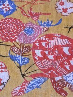 COTTON BINGATA FUKUGI YELLOW GROUND ・ 木綿紅型