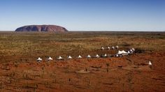 An aerial view of Longitude 131, the luxury lodge with Uluru as its backdrop.  Photo: supplied
