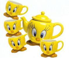 Tweety Bird Tea Set  I gotta have this ...lol