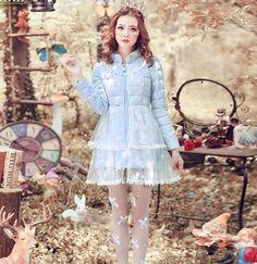 Sweet-Girl-Lolita-flowers-lLace-Duck-down-Coat-Winter-Dress-Women-Outwear-Parka