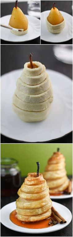HONEYED PEARS IN PUFF PASTRY~ 4 small pears 4 cups water 2 cups sugar 1 cup honey 1 small lemon halved 3 cinnamon sticks inches) whole cloves 1 vanilla bean 1 sheet frozen puff pastry thawed. Just Desserts, Delicious Desserts, Dessert Recipes, Yummy Food, Pear Recipes, Sweet Recipes, Yummy Treats, Sweet Treats, Puff Pastry Recipes