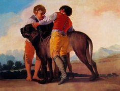 Ragazzi con mastini nei cartoni per gli arazzi reali, 1787, cm. 112 x 145 Prado Madrid
