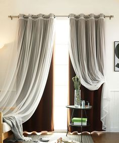 Shop for Aurora Home Mix & Match Blackout Tulle Lace Bronze Grommet 4 Piece Curtain Panel Set. Get free delivery On EVERYTHING* Overstock - Your Online Home Decor Outlet Store! Short Curtains, Tulle Curtains, Sheer Drapes, Grommet Curtains, Panel Curtains, Curtain Panels, Bedroom Curtains, Blackout Panels, Blackout Curtains