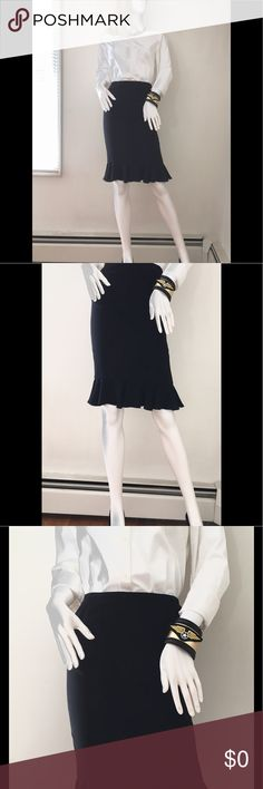 "BLACK SILK LAFAYETTE 148 RUFFLE PENCIL SKIRT SZ 0 Neiman Marcus, Lafayette 148, ruffled hem, pencil skirt for the office or that special dinner date. Worn twice. Excellent condition! Fully lined. Waist-25"" Length-23"" Hips-32"" Size-0 Lafayette 148 New York Skirts Pencil"