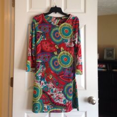 Dress Adorable lightweight bright dress great for work !  This dress is very flattering on & works great with heels or sandles. Venus multi color! Dresses Long Sleeve