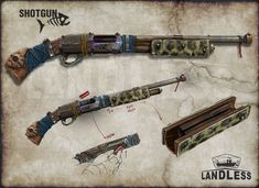Zombie Weapons, Steampunk Weapons, Apocalypse World, Apocalypse Art, Mad Max, Homemade Weapons, Weapon Concept Art, Military Guns, Fantasy Weapons